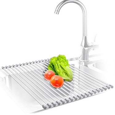 KIBEE Dish Drying Rack Stainless Steel Roll Up Over The Sink Drainer Gadget