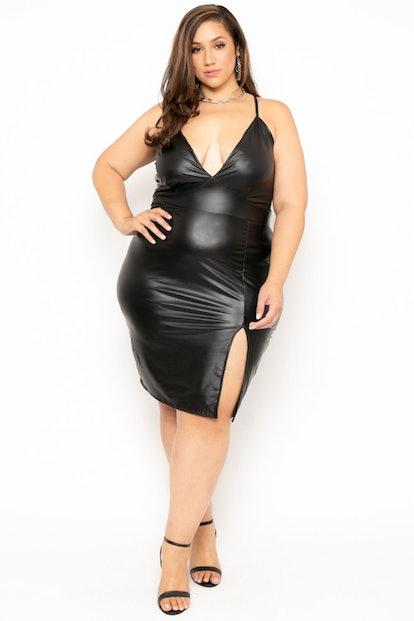 Curvy Sense Plus Size Faux Leather Cami Dress
