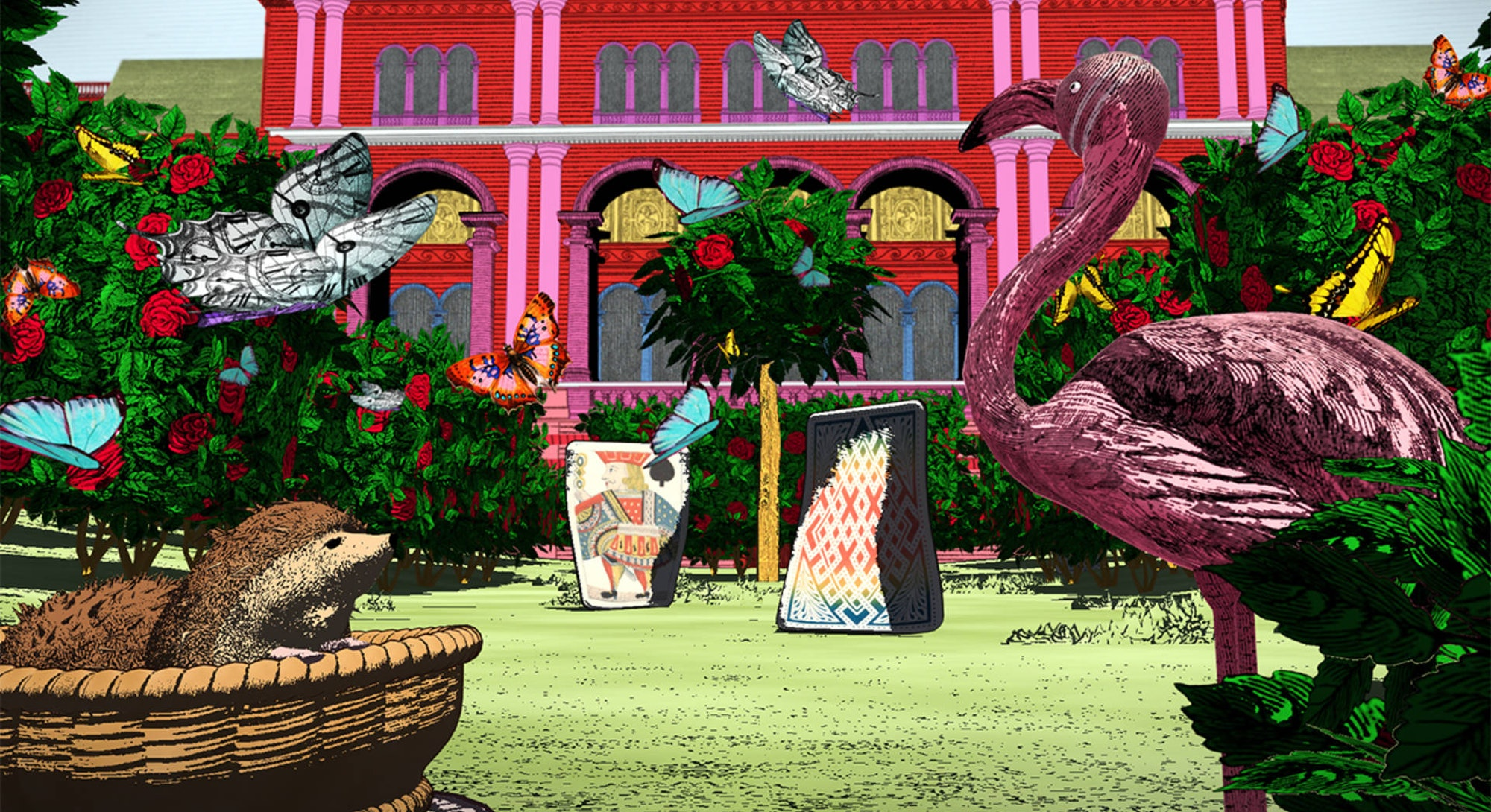 A virtual reality setting of the Alice: Curious and Curiouser exhibition.