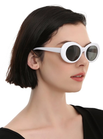Hot Topic White Oval Retro Sunglasses