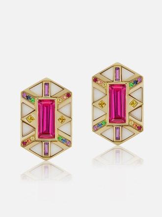 Hexagon Shield Button Earrings