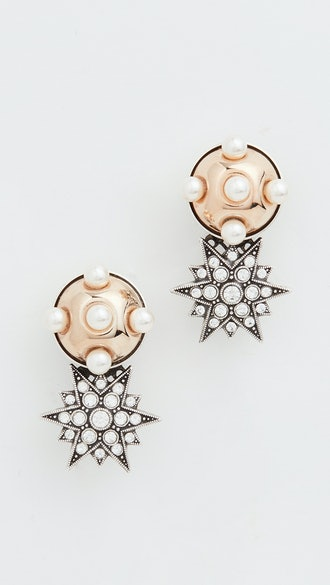Omega Clasp Half Sphere & Star Earrings
