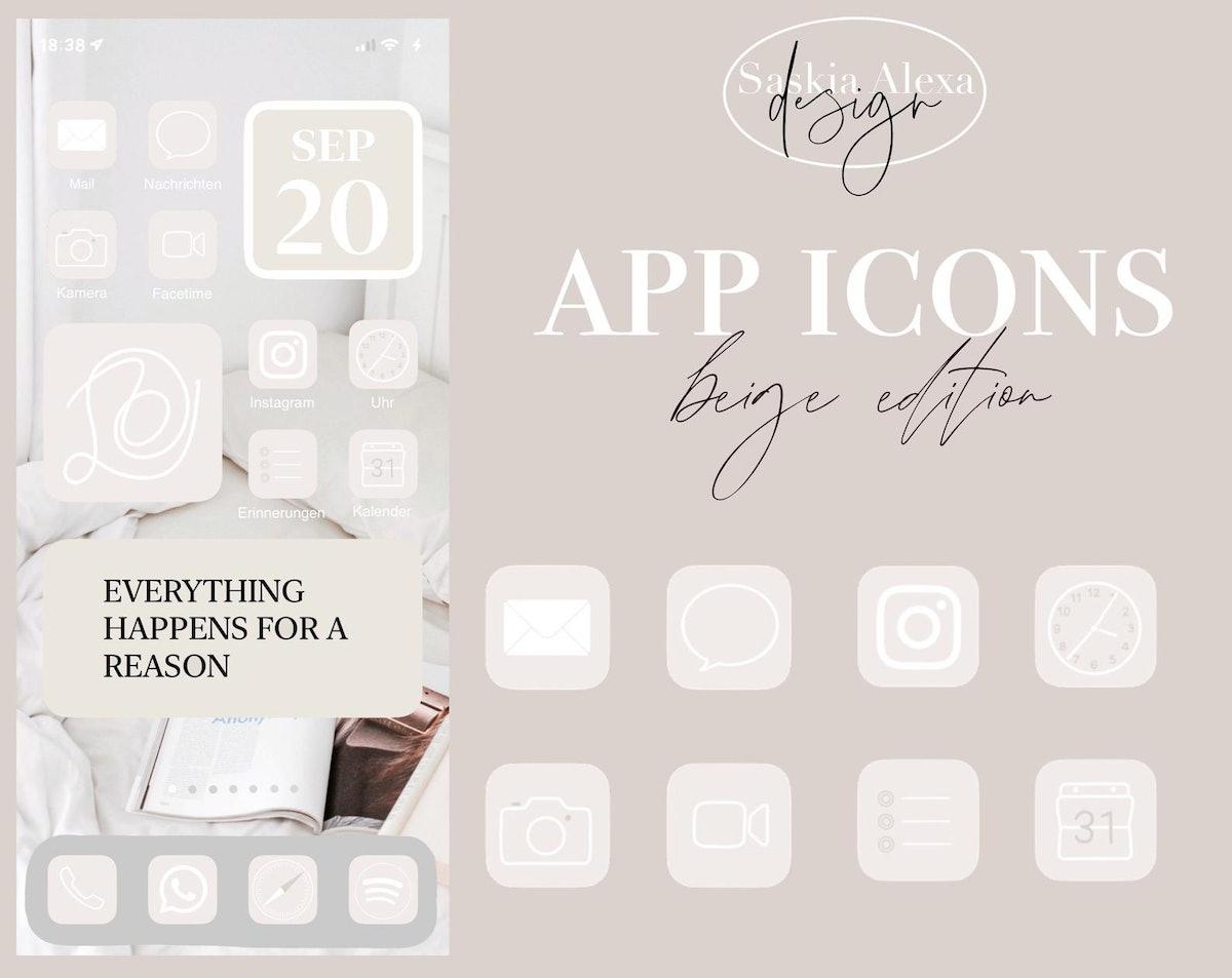 App Icons - beige/black edition + iPhone iOS14 Tutorial — SaskiaAlexaDesigns