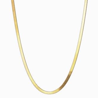 "Herringbone Necklace 18"" 14k Yellow Gold Vermeil"