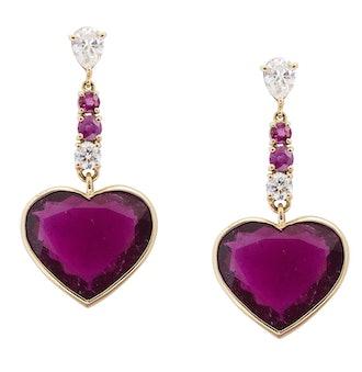 Diamond Rubellite Ruby Heart Earrings