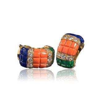 Coral, Malachite and Lapis Lazuli Ear Clips