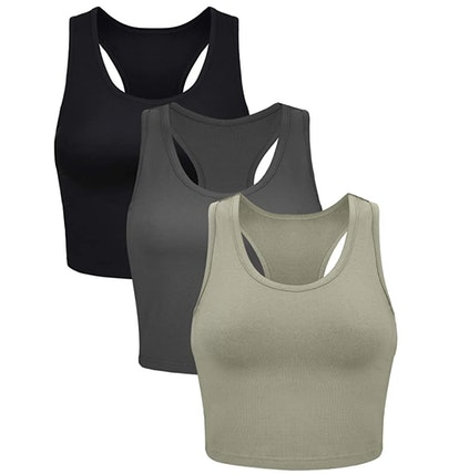 Boao Cotton Basic Racerback Crop Tank Top (3-Pack)