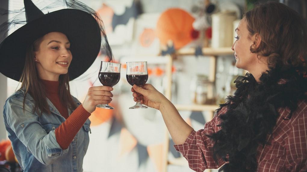 Drinking wine on Halloween
