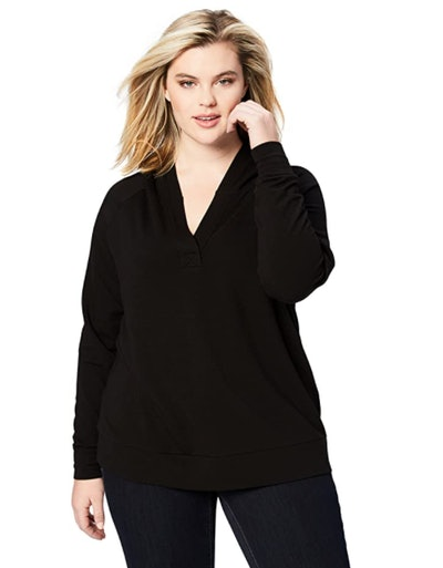 Daily Ritual Women's Plus Size Cotton Modal Terry Hooded Henley