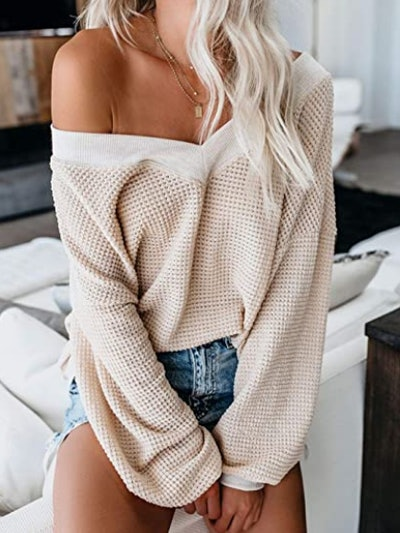 Adreamly V-Neck Long Sleeve Waffle Knit Off The Shoulder Top