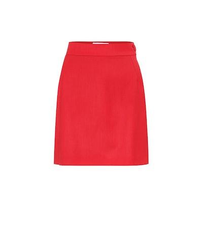 Stretch-Wool Miniskirt