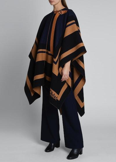 Striped Wool Blanket Cape