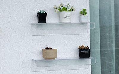 Cq acrylic Invisible Acrylic Floating Wall Ledge Shelf (Set Of 4)