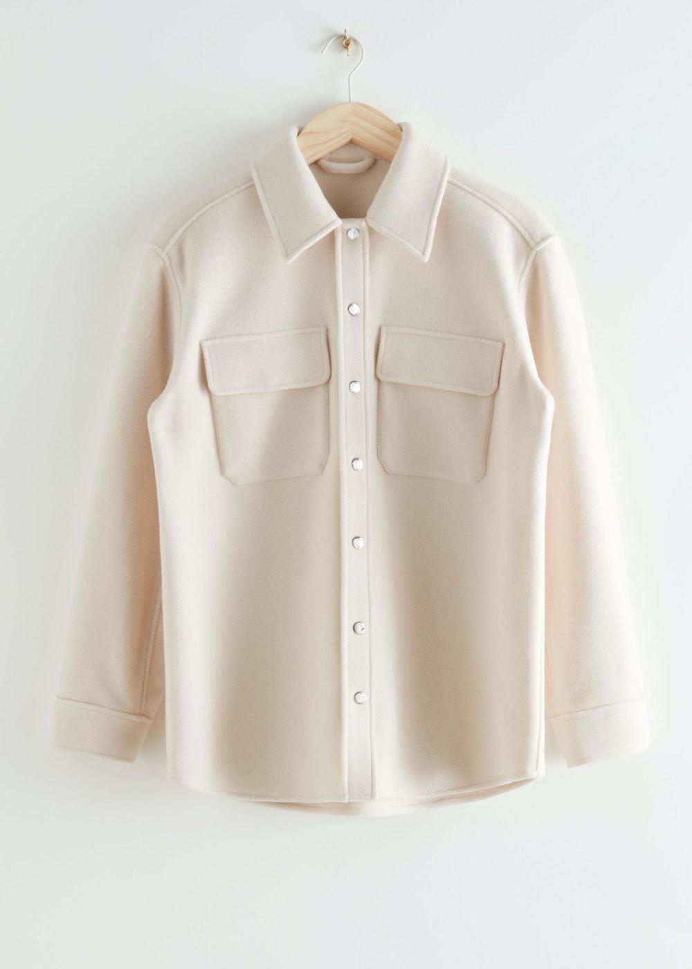 Oversized Wool Blend Workwear Shirt