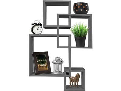 Greenco Decorative 4 Cube Intersecting Wall Mounted Floating Shelf