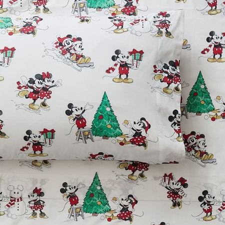 Disney Mickey Mouse Holiday Organic Percale Sheet Set
