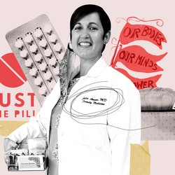 Dr. Julie Amaon of Just The Pill, a mobile reproductive health clinic, surrounded by birth control and more.