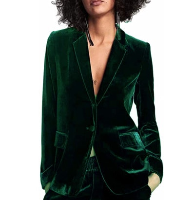 HeLov Women's 1 Button Velvet Blazer