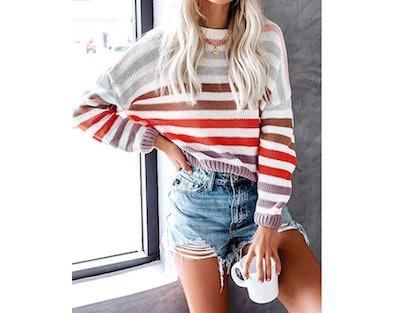 ZESICA Striped Sweater