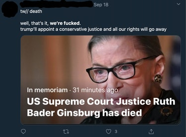 RBG Twitter death reaction