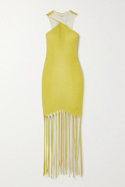 Fringed Ribbed Cotton And Silk-Blend Halterneck Dress