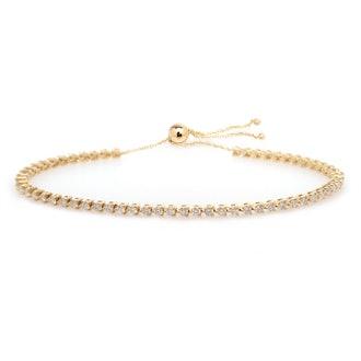 14K 3-Prong Diamond Tennis Bolo Bracelet