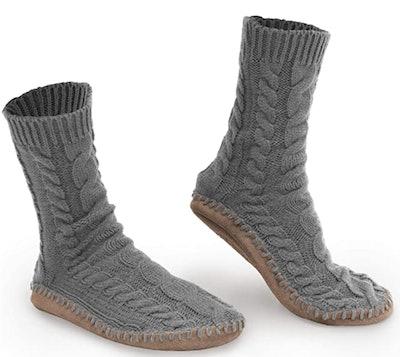 Pembrook Tall Cable Knit Slipper Socks