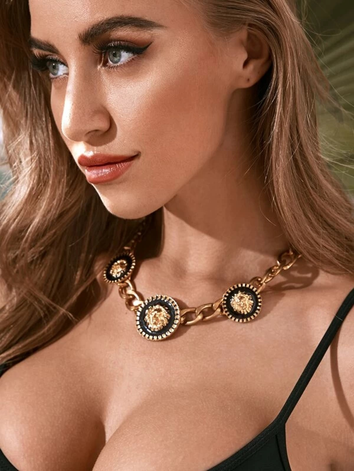 1pc Lion Head Decor Chain Necklace