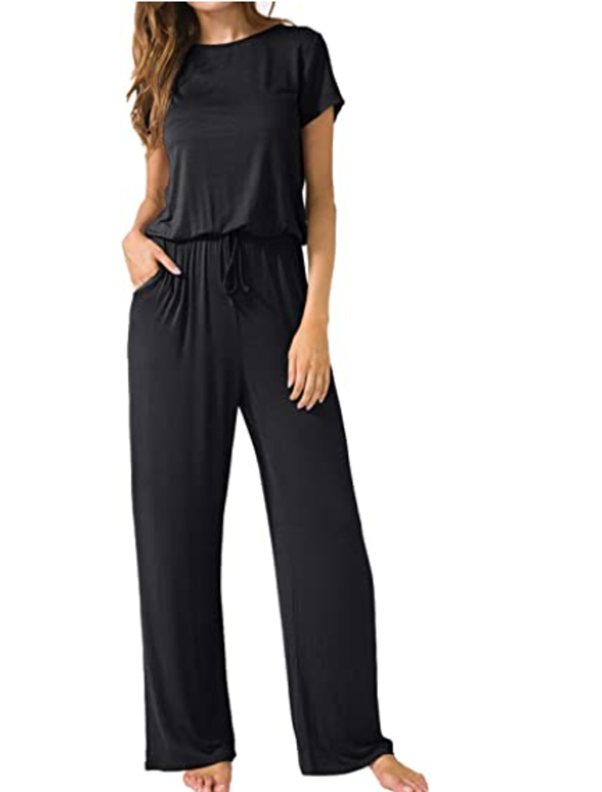 LAINAB Short Sleeve Wide Leg Jumpsuits with Pockets