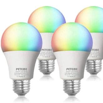 Peteme Smart RGB Color Changing LED Wi-Fi Light Bulb (4-Pack)