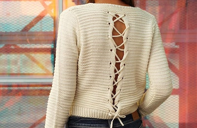 PrettyGuide Cable Lace-Up Sweater