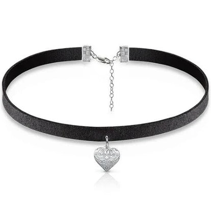 Black Choker Necklace with Heart Charm