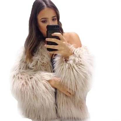 Womens Plus Size Warm Winter Loose Faux Fur Parka Coat Overcoat Long Sleeve Jacket Outwear Luxury Party