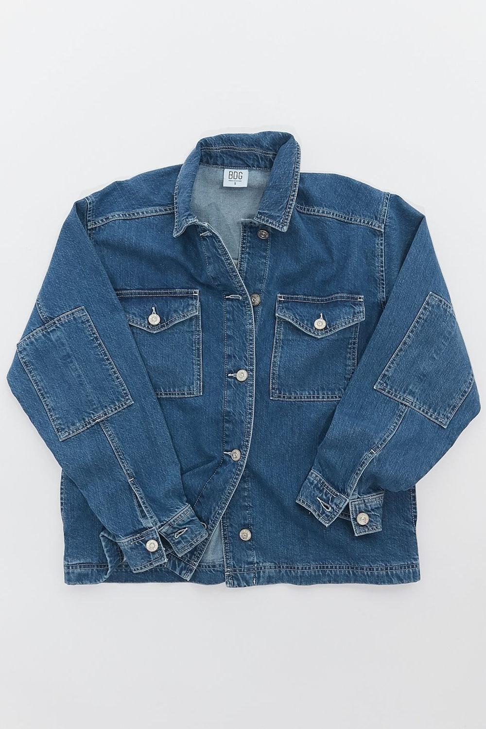 Contrast Stitch Denim Shirt Jacket