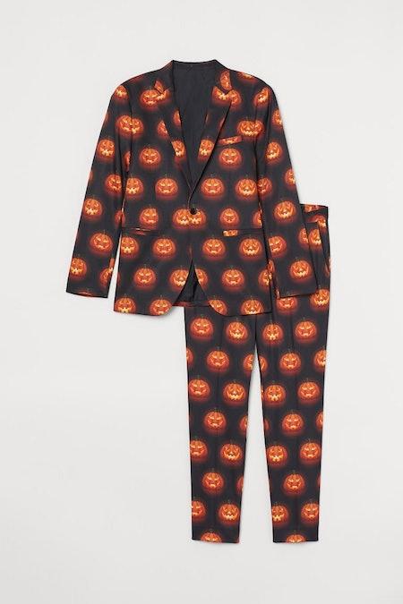 Patterned Suit in Black/Pumpkin Lanterns
