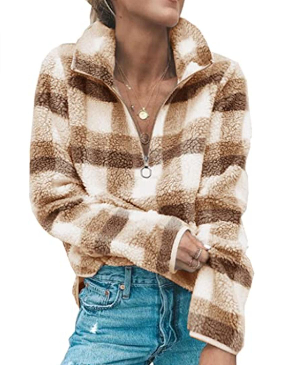Angashion Women's Long Sleeve Fleece Sweatshirt