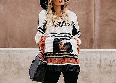 ZESICA Color-Block Sweater