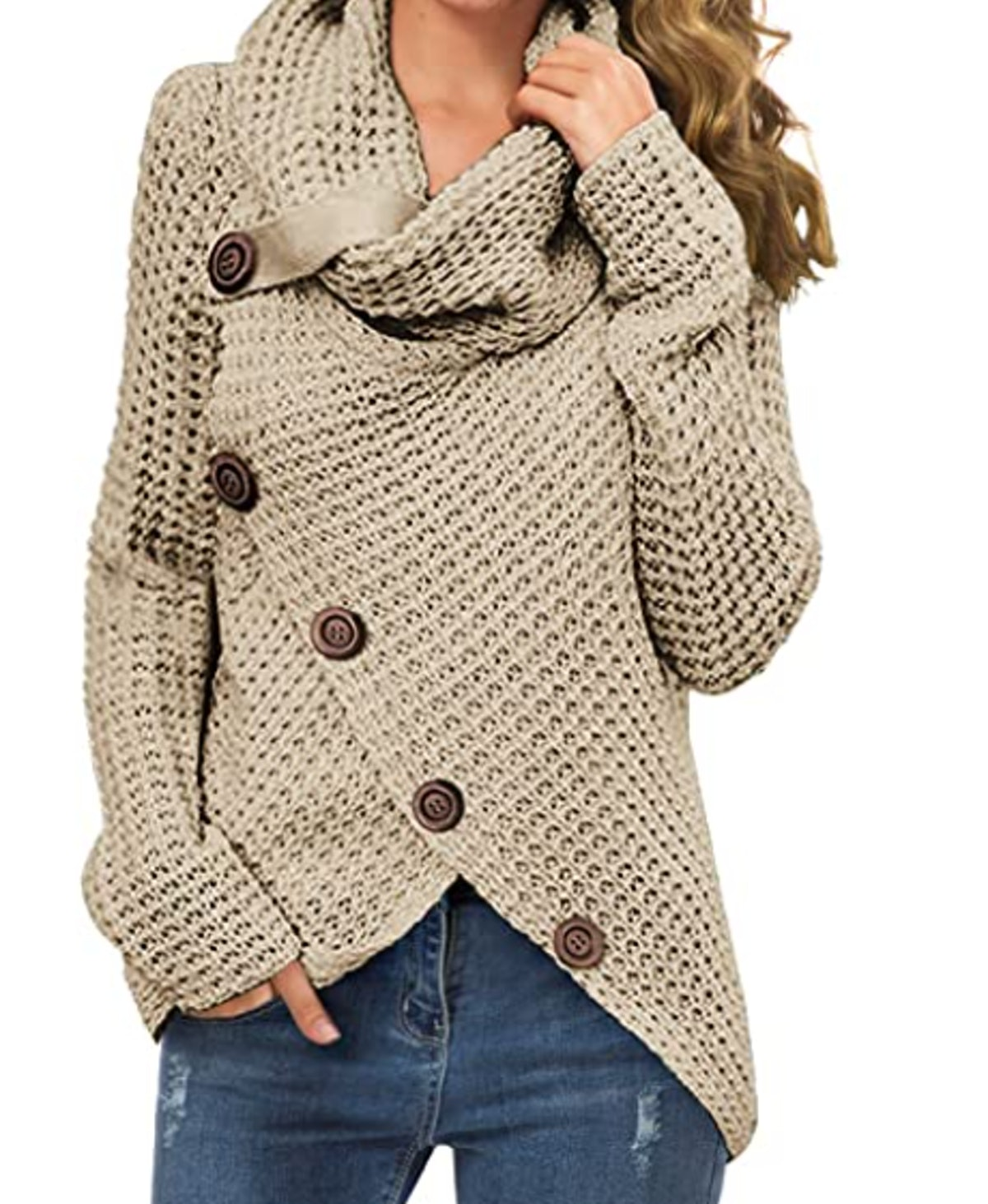 GRECERELLE Women's Cowl Neck Asymmetric Wrap Sweater