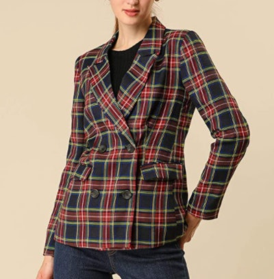 Allegra K Women's Notched Lapel Double Breasted Plaid Work Blazer