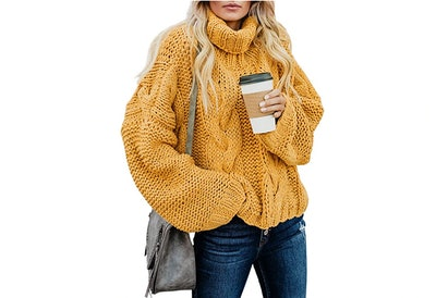 Dokotoo Women Solid Turtleneck Sweater