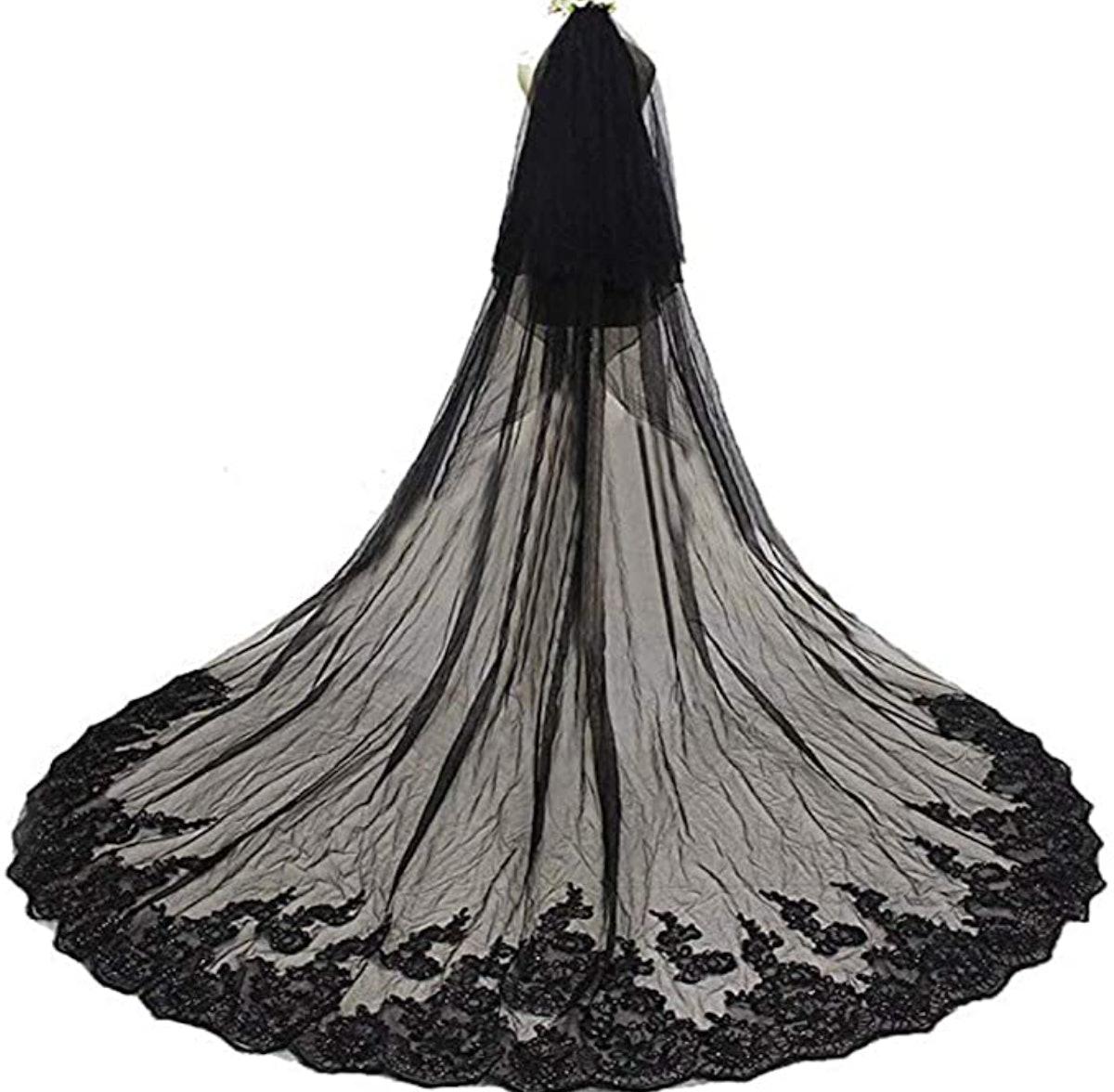Alicebridal 3M Black Lace Veil
