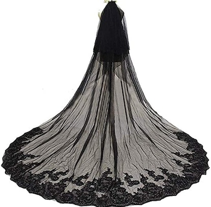 Alicebridal 3M Black Lace Veil