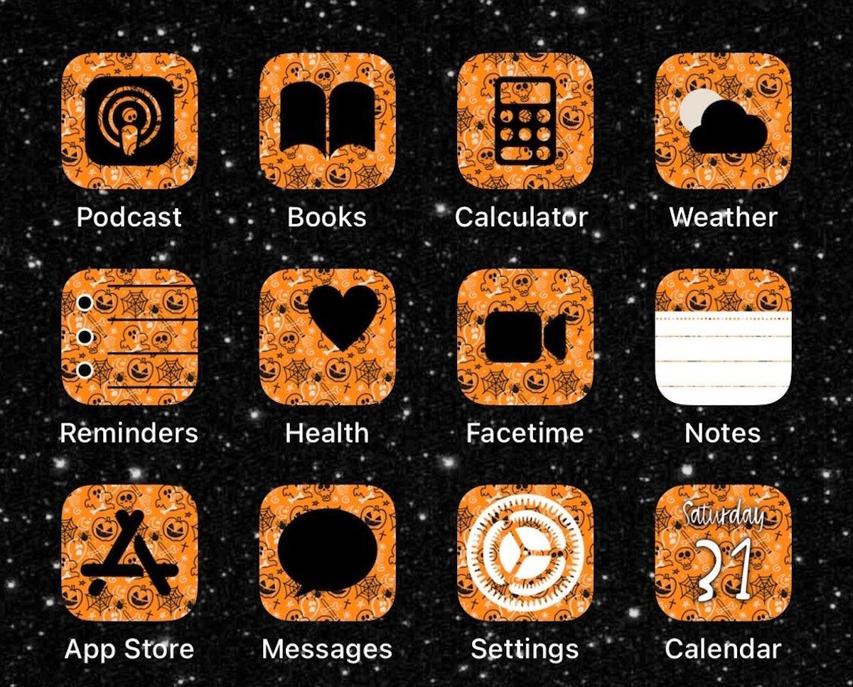 Orange Halloween Print iOS14 App Icons