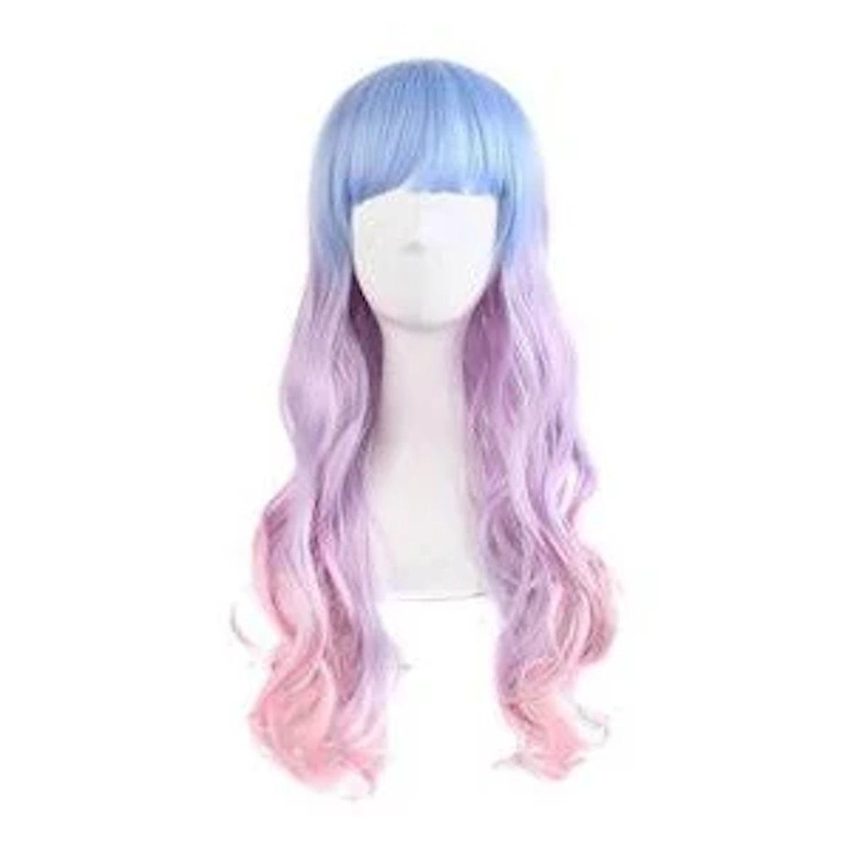"Multi-Color Wavy Mermaid Party Halloween Wig 26"" (Light Blue, Pink, Purple)"
