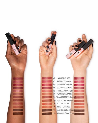 Shade swatches of the Rouge Pur Couture The Slim Glow Matte Lipstick from YSL Beauty's Illicit Nudes Collection.