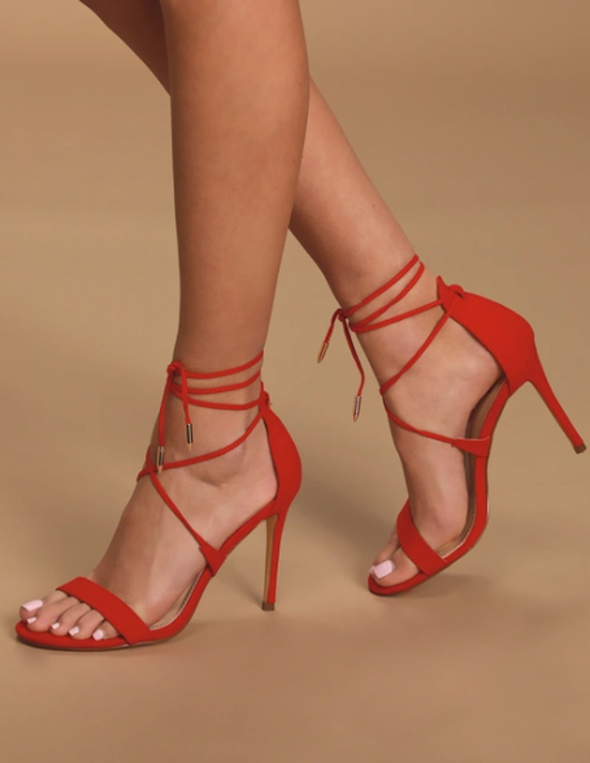 Aimee Red Suede Lace-Up Heels