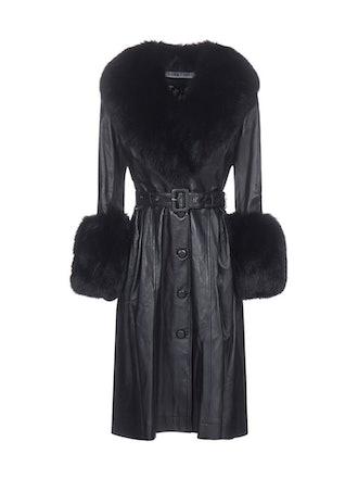 Fur-Trim Belted Coat