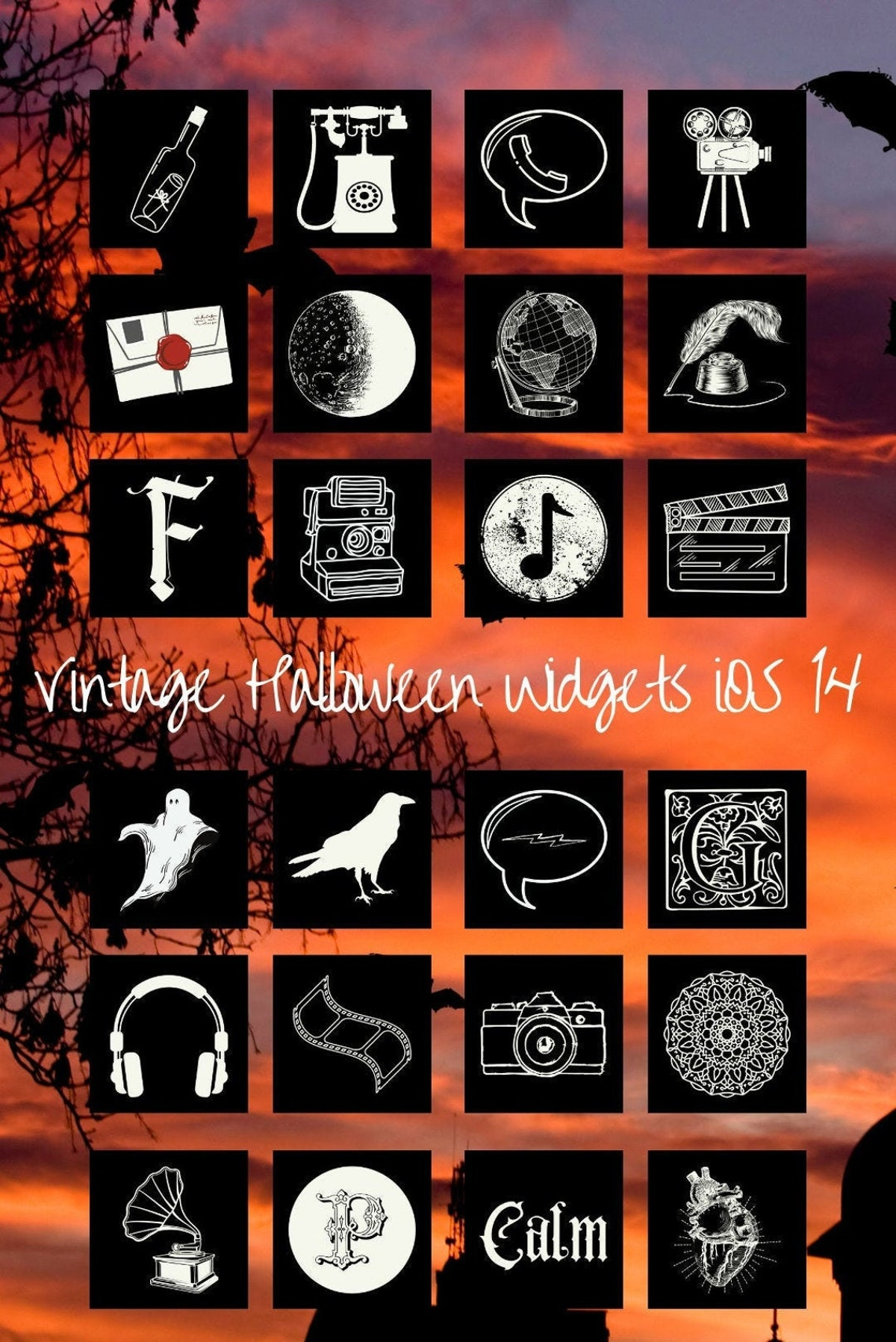 Vintage Halloween iPhone Widget Icon Pack