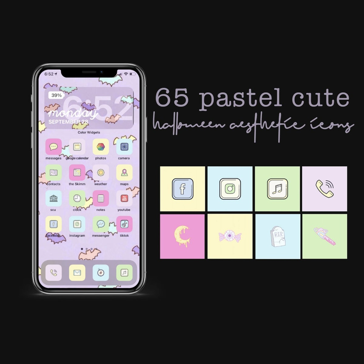 Pastel Cute Halloween Aesthetic iOS 14 iPhone Icons apps