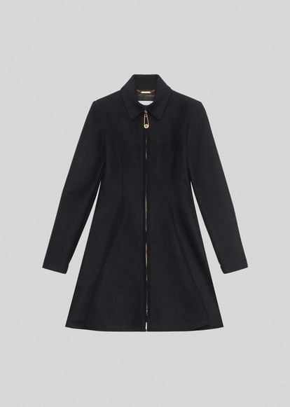 ZIP ACCENT WOOL FLARED COAT